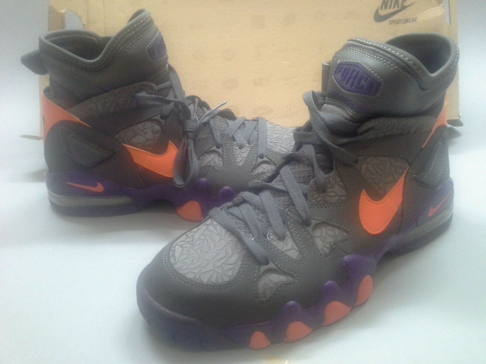 Size 9.5 New Nike Air Max 2 Strong Grey Orange Purple 555104-001 Suns Electric