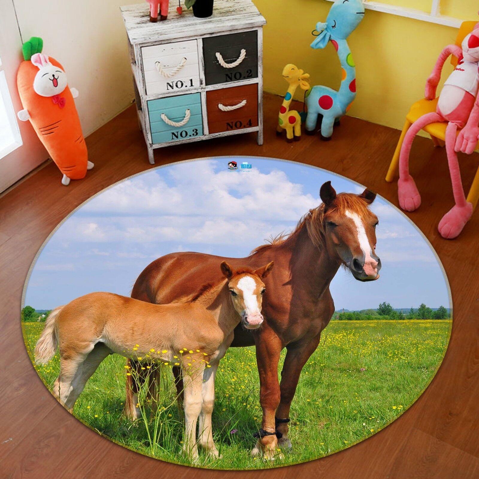 3D cavalli prato cielo 05 tappetino antiscivolo tappeto camera tappetino tappeto rossoondo elegante UK Carly