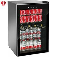 Mini Fridge Glass Door Beverage Wine Cooler Shelves Stainless Steel Frame