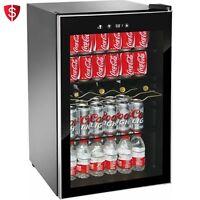 Mini Fridge Glass Door Beverage Wine Cooler Shelves Stainless Steel Frame