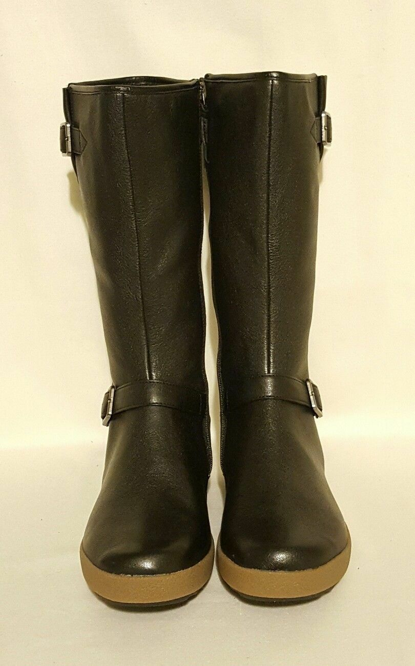 NEW CLARKS ACTIVE AIR MID NECK SPARKLE BLACK LEATHER MID AIR CALF KNEE HIGH BOOTS LADIES d40598