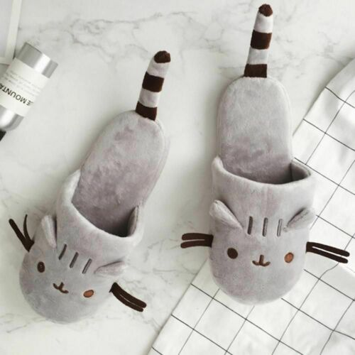 Slippers Cat Lover Gift Plush Cute Indoor House Winter Soft Womens Warm Home New
