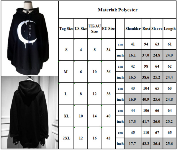 Damen Gothic Punk Kapuzenpullover Mantel Jacke Sweatshirt Sweatjacke Pulli Tops