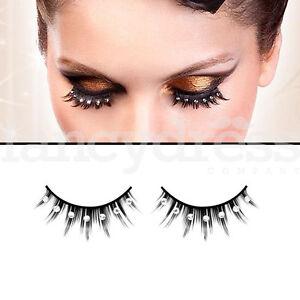 89a8aa68b30 BACI Black Eyelashes with Silver Gems Fancy Dress New Years False ...