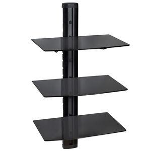 hifi glas regal konsole tv media wandhalterung wandregal dvd receiver schwarz ebay. Black Bedroom Furniture Sets. Home Design Ideas