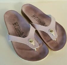 Birkenstock Birki's Gizeh Sandals Purple Stripes Leather Size 38 Ladies 7