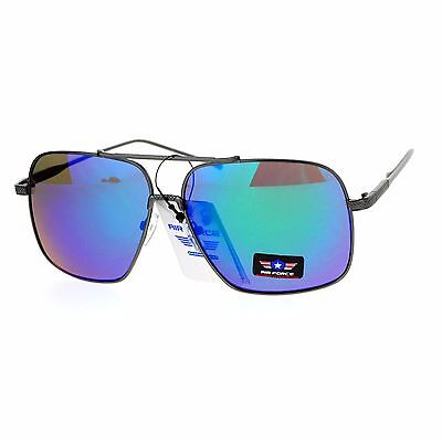 ea31a698e11 Air Force Sunglasses Unisex Retro Fashion Metal Square Aviators UV 400  Silver (fuchsia Mirror)