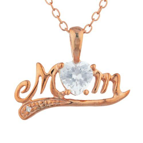 14Kt Or Blanc Saphir /& Diamant Coeur Maman Collier Pendentif
