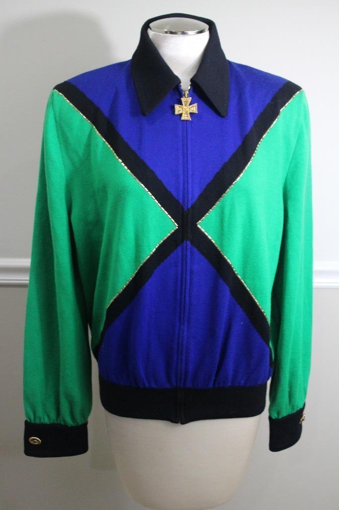 ST. JOHN SPORTSWEAR Women's bluee & Green Full Zip Sweater SIZE L (o100