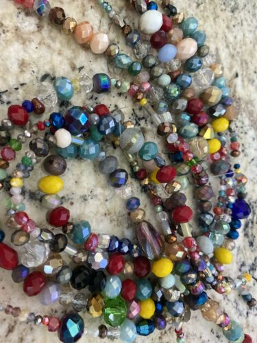 DIY JEWELRY 5 STRANDS  Faceted Mixed Electroplate Glass Beads  Mixed 2~13.5mm