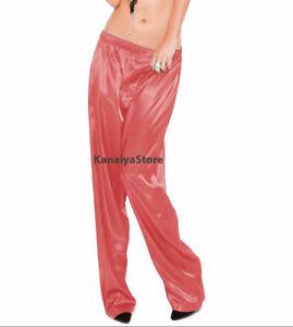 online store 5a37a 29754 Details zu Lachs Satin Unisex Lounge Schlaf Pyjama Hosen Erwachsene Frauen  Sissy Maid