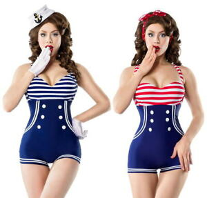 Vintage-Badeanzug-Swimsuit-Marine-Knoepfe-Retro-Bademode-36-38-40-42-S-M-L-XL-Neu