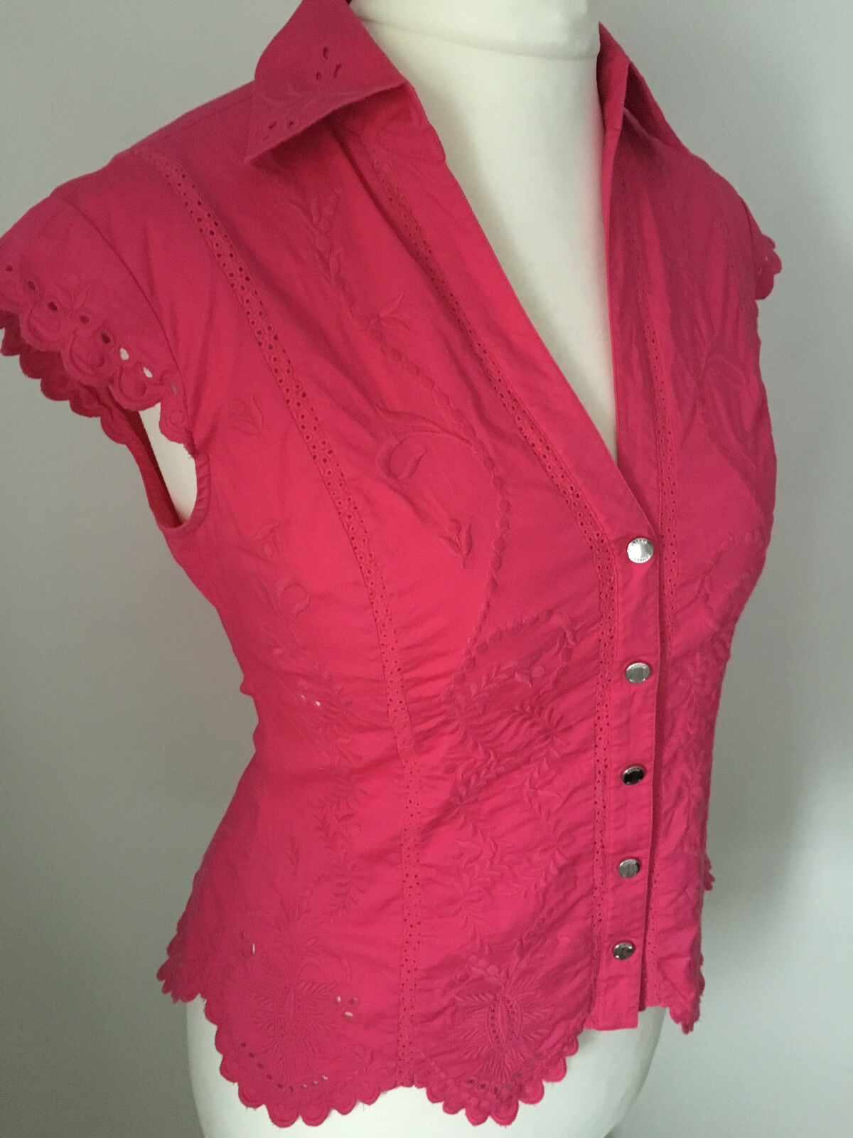 Karen Millen Pretty Pink Embroidered  Shirt Blouse Size 14