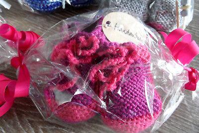 5 Paar handgetrickte Babyschuhe*verschiedene Größen & Farben*Geschenkverpackung