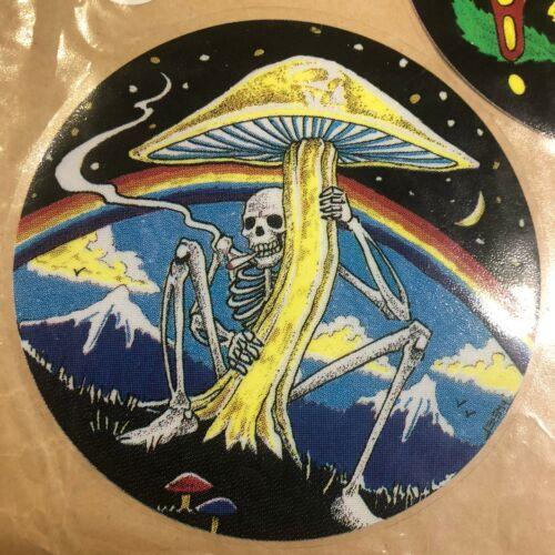 NEW Vintage Skeleton Smoking Mushroom Trippy Psychedelic Window Sticker Decal