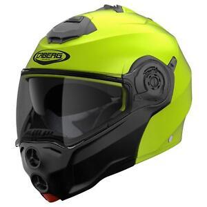 Caberg-Droid-Motorrad-Klapp-Helm-Neon-Gelb-Schwarz-Hi-Vizion-Integral-Jet-Blende