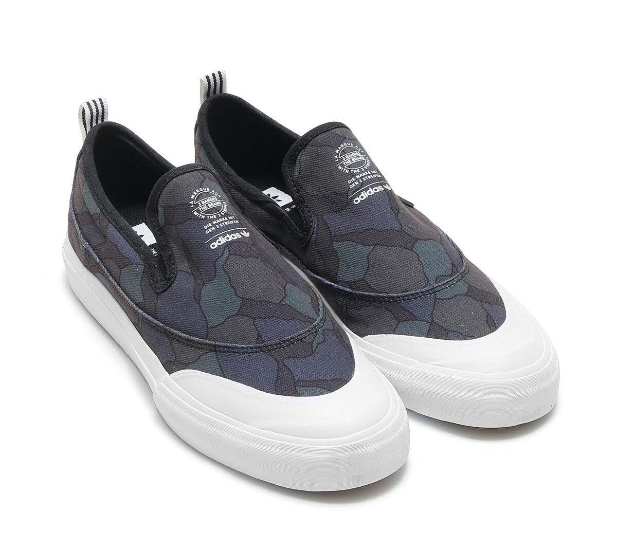 NWOB Adidas Matchcourt Slip-On Skateboard Shoe Core Black White Men's Size 10