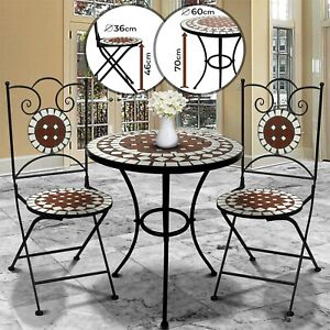 Tavoli In Ceramica Per Esterno.Set Mosaico Per Esterni Tavolo E 2 Sedie Mobili Da Balcone