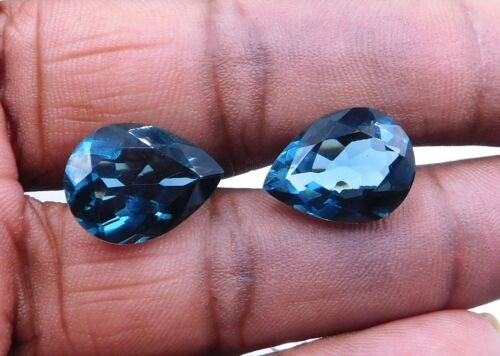 Details about  /Lab Created London Blue Topaz Pear Shape Topaz Faceted Gemstones 12X16mm P843