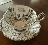 QUEEN ANNE ~ England ~  Bone China ~ WEDDING ANNIVERSARY CUP & SAUCER