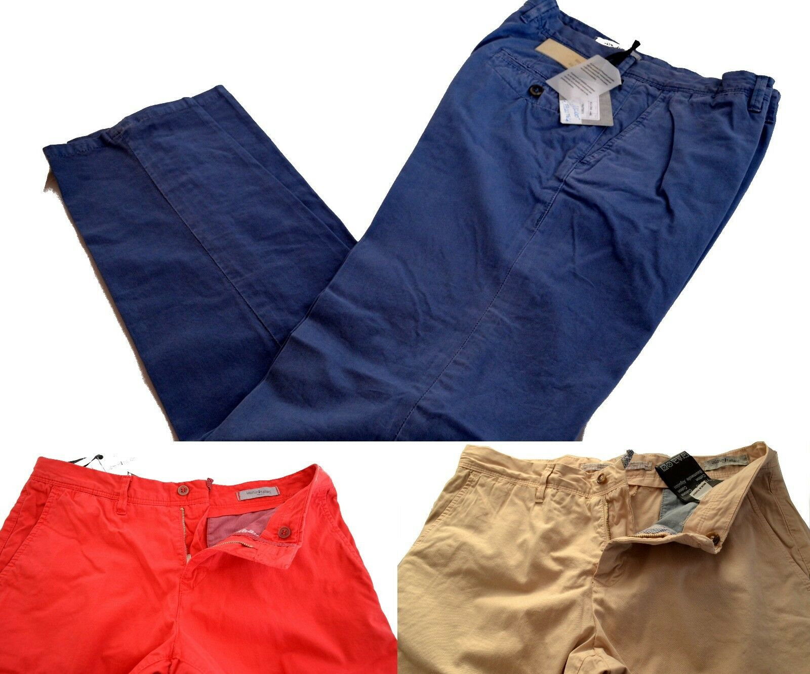 Pants Uomini Italiani Since 1959 Trousers 100% Cotton High Quality blue Beige Red