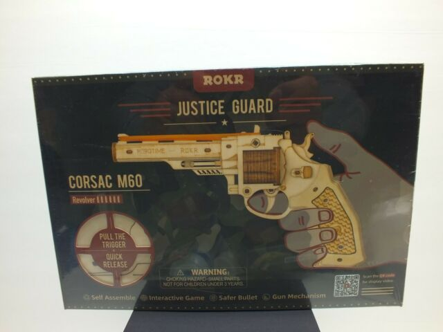 ROKR Justice Guard Corsac M60 Revolver, Self Assemble Wood Gun, Rubber band New