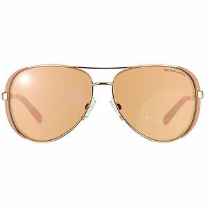 a8da229a9c74 Details about Michael Kors MK5004 Rose Gold Mirror Taupe Aviator Chelsea  Sunglasses 1017R1