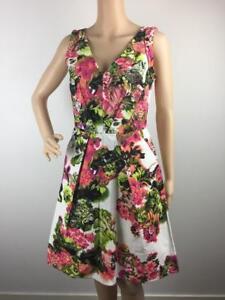 Veronika-Maine-Floral-Career-Party-Sleeveless-Dress-Size-8