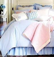 Cremieux Classic Oxford Accent Pillows Set Of Two Blue White Ruffles Cottage