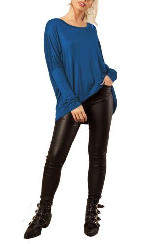 Womens Batwing Sleeve Oversized Lagenlook Baggy Off Shoulder High Low Jumper Top