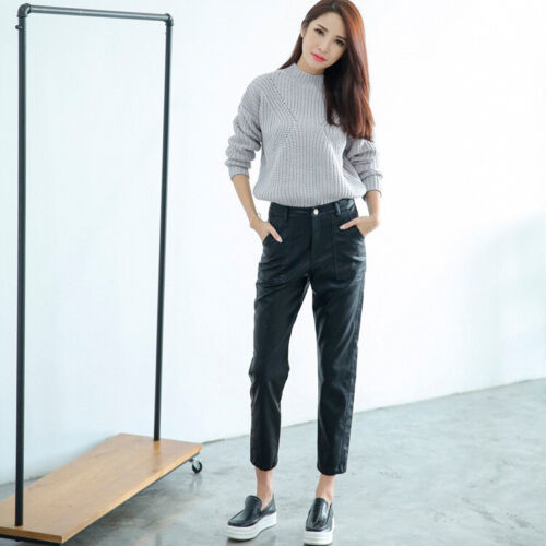 Fashion Womens Faux Leather Harem Pants Loose Skinny Ninth Pants Casual Trousers