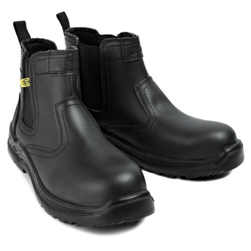 Mens Safety Boots Chelsea Work Shoes Leather Steel Toe Cap Working Ankle ESD S3