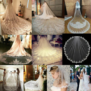 White-Ivory-Wedding-Veils-Appliques-Lace-Bridal-Veil-Cathedral-Elbow-Length-New