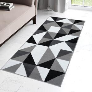 New-Modern-Grey-Hallway-Runner-Short-Pile-Geometric-Triangle-Pattern-Runners