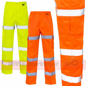 Hi Viz - 3 Band Combat Cargo Trouser Pants Mens Rail Spec Part Elasticated Waist