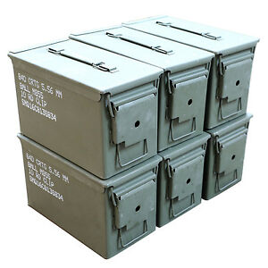 6 pack m2a1 surplus 50cal size metal ammo cans ammo box excellent