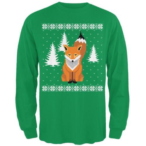 Big Fox Ugly Christmas Sweater Irish Green Adult Long Sleeve T-Shirt