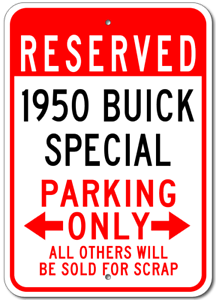 1950 50 BUICK SPECIAL Parking Sign