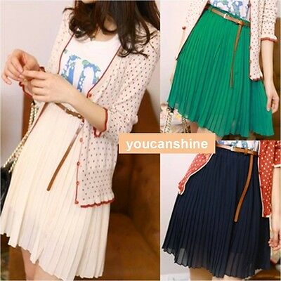 Summer Womens Chiffon Double Layer Elastic Waist Belt Pleated Maxi TUTU Skirt