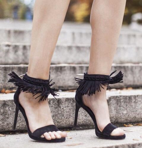 Diane von Furstenberg 'Sian' nero Suede High Heels Fringe Sandals sz  US 10