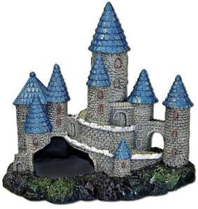 Blue-Spires-Castle-Fish-Swim-Thru-Cave-Aquarium-Ornament-Blue-Gray