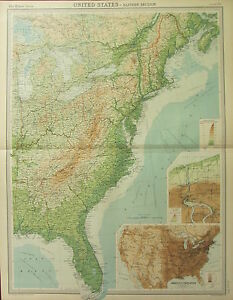 1922 LARGE ANTIQUE MAP ~ UNITED STATES EASTERN ~ POPULATION DENSITY ~ NIAGARA