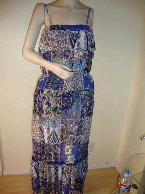 NWT BEBE PATCH ESPRIT LONG MAXI DRESS SIZE S