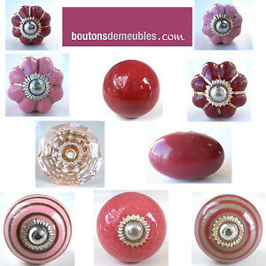 bouton de placard poign e porte tiroir c ramique porcelaine rose bordeaux knob ebay. Black Bedroom Furniture Sets. Home Design Ideas