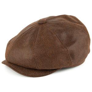 Image is loading Jaxon-Brown-Leather-Newsboy-Cap-1920s-Peaky-Blinders- 6e17fba4932