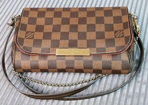 Authentic-Louis-Vuitton-Favorite-PM-Damier-Ebene-Canvas-2-Way-Purse-w-Dust-Bag
