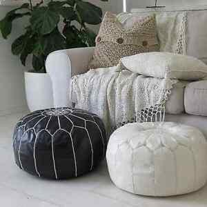 Pleasant Details About Pair 2 Stunning Moroccan Leather Ottoman Pouffe Pouf Footstool Black White Inzonedesignstudio Interior Chair Design Inzonedesignstudiocom