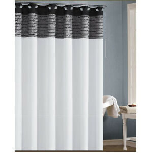 Image Is Loading White Black And Silver Gray Shower Curtain With
