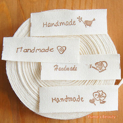 "2 yards: Cut & Sew Labels/ Fabric Ribbon ""Hand Made"" with Zakka Logo DIY"