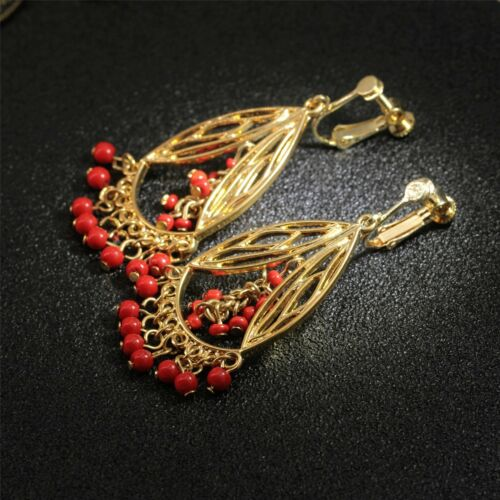 Boucles d/'Oreilles Clips Mini Perle Rouge Doré Creux Tassel Fringe Vintage FF 1